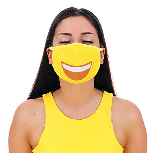 MOJIGEAR Grin Face Premium Cotton Cloth Face Mask - Reusable & Machine Washable with Pollution Filter - Unisex for Teens Men Women - Yellow