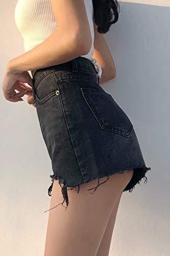 Lady Libre Alta Bolsillos Mezclilla Color Slim Pantalones Cortos Short Aire Sólido De Al Alisado Con Jeans Stretch Blau Calientes Fit Estiramiento Cintura Botón RETRvqWrw