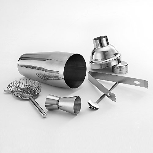 5 Piece Stainless Steel 25 oz Cocktail Shaker Set by QLL, Silver Tipsy Tools Bartending Kit Cocktail Strainer Drink Stirrer Ice Tongs Jigger by QLL (Image #4)
