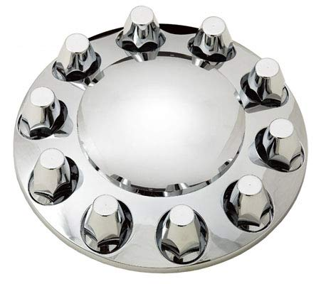 TORQUE Front and Rear Axle Wheel Cover Set 33mm Screw-on Lug Nuts for Semi Truck (Installation Tool Included) (Chrome…