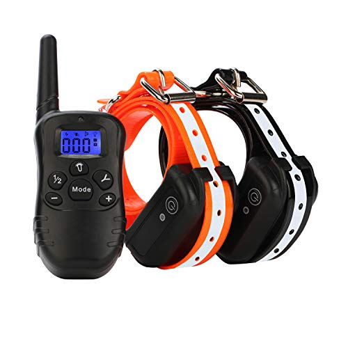 ETPET Shock Collar with Beep Vibrating and Shock for 2 Dogs- Remote Controlled Dog Training Collar 1000 ft Range-Rechargeable and 100% Waterproof Electronic Reflective Collar for Dogs (10Lbs-100Lbs)