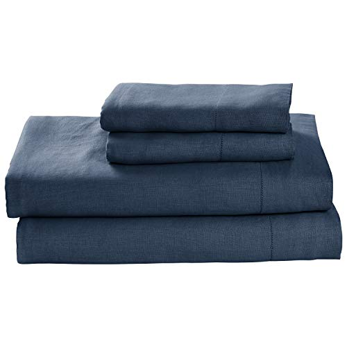 Stone & Beam Belgian Flax Linen Sheet Set, Breathable and Durable, Queen, Aruba ()