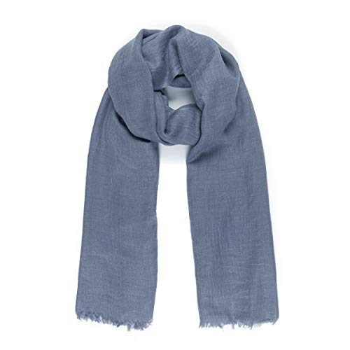 Scarves for Women: Lightweight Solid color Fall Winter Fashion Scarf by MIMOSITO (2 Fringed Edges, Blue)