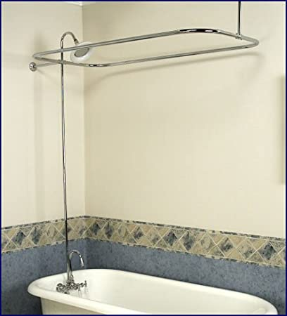 Chrome Add On Shower Set For Clawfoot Tub Gooseneck Faucet Riser