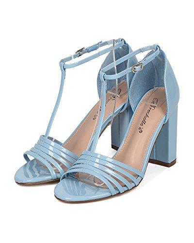 Breckelles Dames T-strap Blok Hak Sandaal - Open Teen Stevige Hak - Enkel Bandje Hak - Ha17 Door Blue Patent