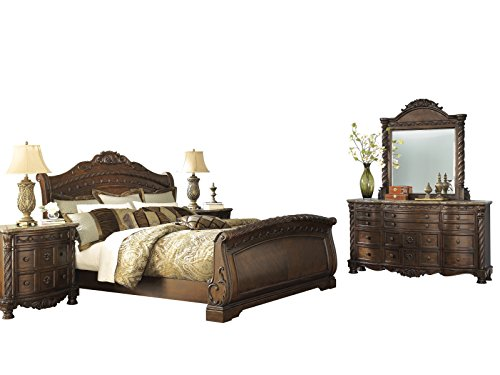Ashley North Shore 5PC Bedroom Set Cal King Sleigh Bed Dresser Mirror Two Nightstand in Dark Brown