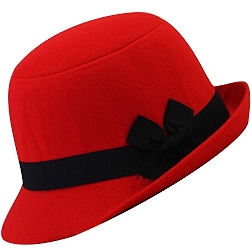 EYourlife2012 Women's Candy Color Wool Rool Up Bowler Derby Cap Cat Ear Hat