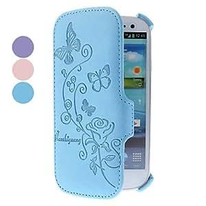 CECT STOCK Mariposa y Rose patrón pu estuche de cuero para Samsung Galaxy S3 I9300 (colores surtidos) , Azul