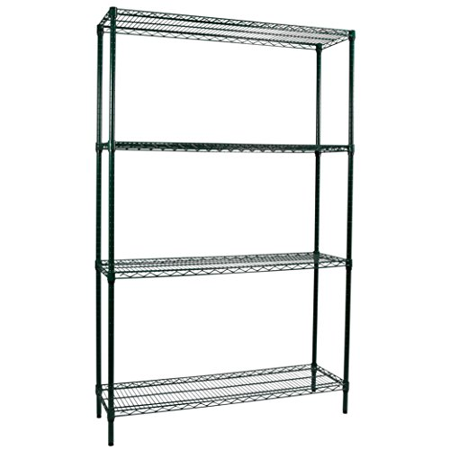 Apollo Hardware Commercial Grade Green Epoxy 4-Shelf NSF Wire Shelving Rack, 14