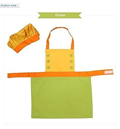 Bling Story Cotton Canvas Kids Chef Aprons and Hat Set (M-L) (M, Green) JY Shop