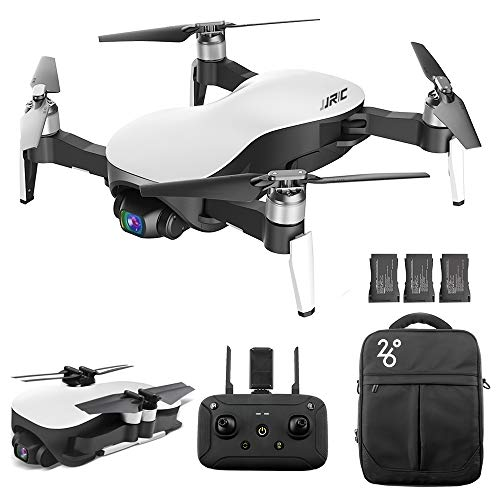 GoolRC JJRC X12 GPS Drone with 4K HD Camera, 3-Axis Stabilized Gimbal, 5G WiFi FPV Brushless Motor Drone, Multi-Modes Positioning Foldable RC Quadcopter for Adults with 3 Battery and Handbag (White)