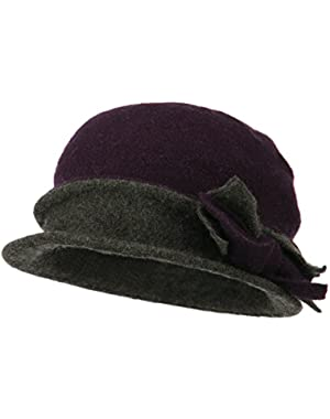 Women's 2 Tone Boiled Wool Bow Cloche – Purple