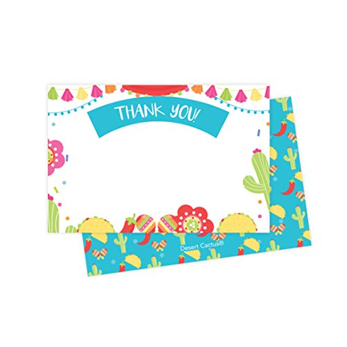 Fiesta Tacos Thank You Cards (25 Count) With Envelopes & Seal Stickers Bulk Birthday Party Bridal Blank Graduation Kids Children Boy Girl Baby Shower (25ct)