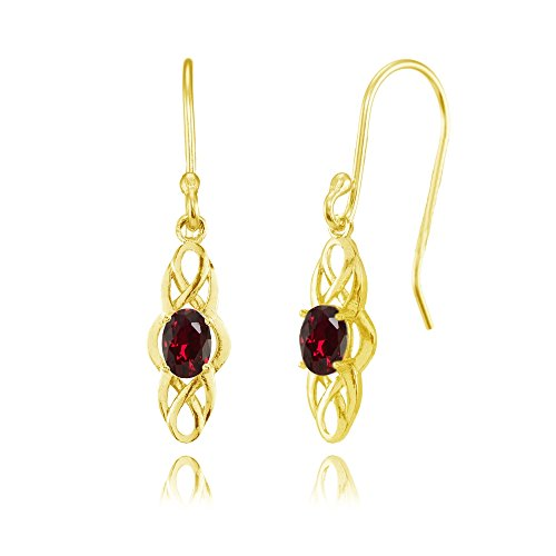 Celtic Ruby - Yellow Gold Flashed Sterling Silver Created Ruby Celtic Knot Oval Dangle Drop Earrings