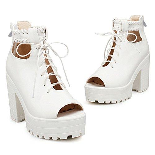 COOLCEPT Mujer Moda Cordones Sandalias Peep Toe Tacon Ancho Zapatos With Cremallera Blanco