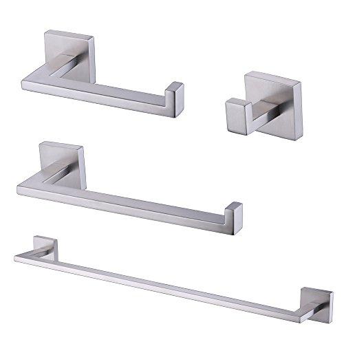 KES 4-Piece Bathroom Accessory Set RUSTPROOF Towel Bar Hook Toilet Paper Holder Towel Ring Wall Mount Brushed SUS 304 Stainless Steel, LA2252-42