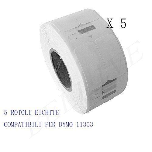Twin Turbo 5 Rotoli Etichette adesive compatibile per DYMO 11353 S0722530 25mm X 13mm Dymo LabelWriter 450//450 Duo 450 Turbo 450 Series 450 Twin Turbo//DUO//SE 450
