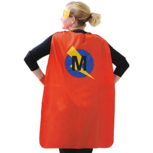 LYNDA SUTTON Superhero Capes for Adults, Women and Mens Superhero Cape with Letter M, Red and Blue Cape for Adult,Adult Initial Cape