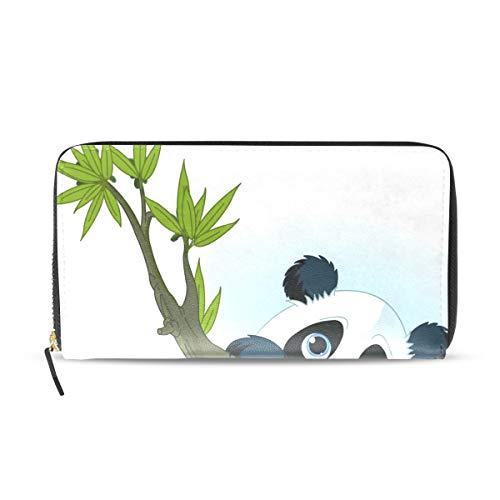 (Women's Wallet Giant Panda Climbing Tree Long Zipper Purse Card Holder Bag Festival)