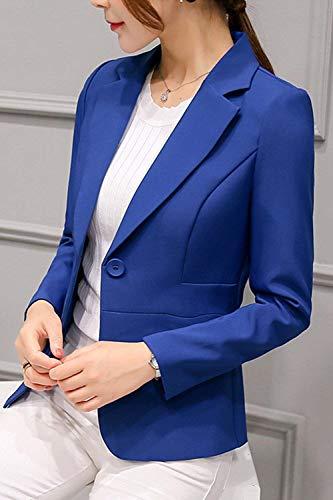 Giovane Business Stlie Giacca Ufficio Moda Blazer Lunga Autunno Con Bavero Giacche Da Donna Eleganti Button Blau Classiche Monocromo Tasche Grazioso Tailleur Cappotto Manica Primaverile Vintage fwp8fq