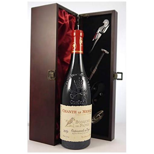 413pgIR%2B%2B L Chateauneuf-du-Pape-Chante-le-Merle-Vieilles-Vignes-2010-Les-Bosquet-des-Papes-vintage-wine-in-a-silk-lined-wooden-box-with-four-wine-accessories-1-x-750ml