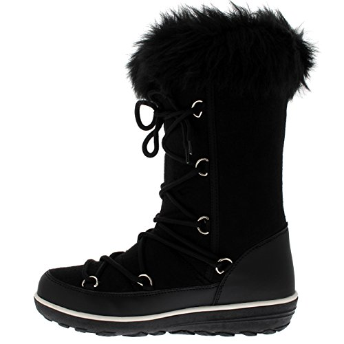 Polar Products Dames Regen Thermisch Warm Snow Winter Kniehoge Waterdichte Laarzen Zwart Textiel