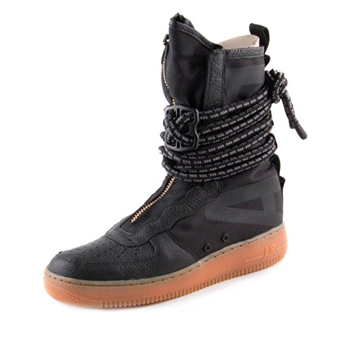 High Zipper Top Boot (NIKE Mens SF Air Force 1 High Premium Boots Black/Gum Med Brown AA1128-001 Size 10)