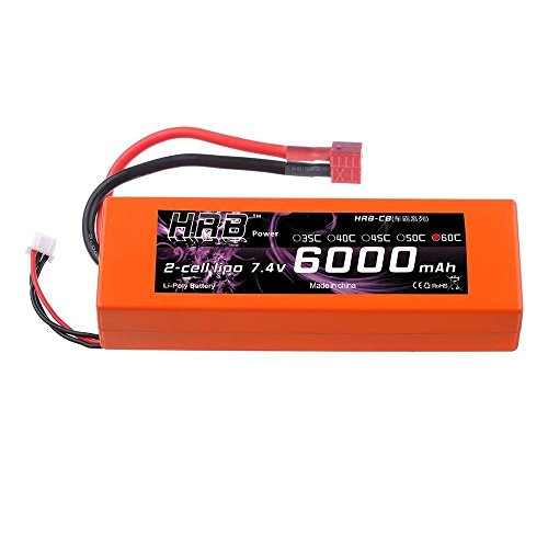 HRB 6000mAh 7.4V 2S 60C LiPo Battery Pack orange HardCase with Deans T Plug for RC Car Boat Truck Roar - Chicago 2s