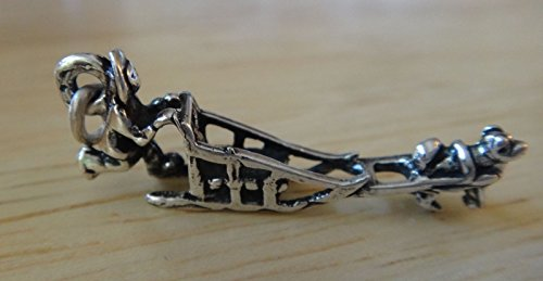 Malamute Sled - Sterling Silver 3D 30x12mm Man with Husky Malamute Dog Sled Charm Jewelry Making Supply, Pendant, Charms, Bracelet, DIY Crafting by Wholesale Charms
