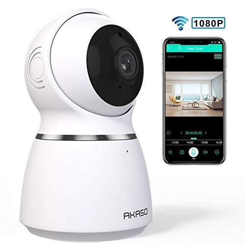 WiFi Home Security Camera 1080P HD, AKASO Night Vision Wireless IP Camera  with Auto Motion Tracking, Panoramic Navigation, 2-Way Audio, Pet Camera,