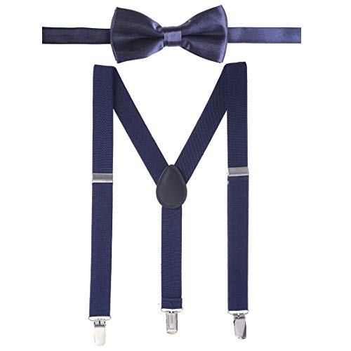 Suspenders for Kids and Bow Tie Set Adjustable Leather Toddler/Baby Suspenders for Boys and Girls
