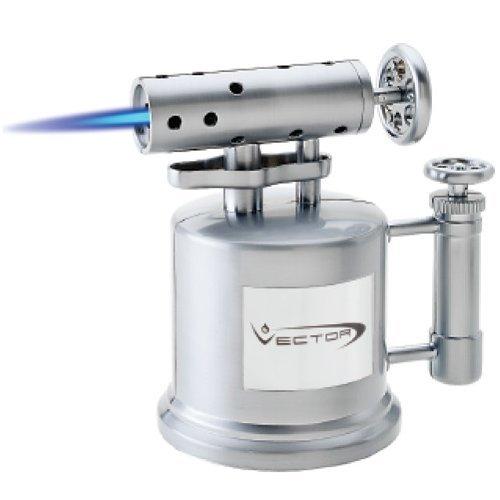 Vector Mega Pump Table Top Cigar Torch Lighter Nickle Satin MEGAPUMP