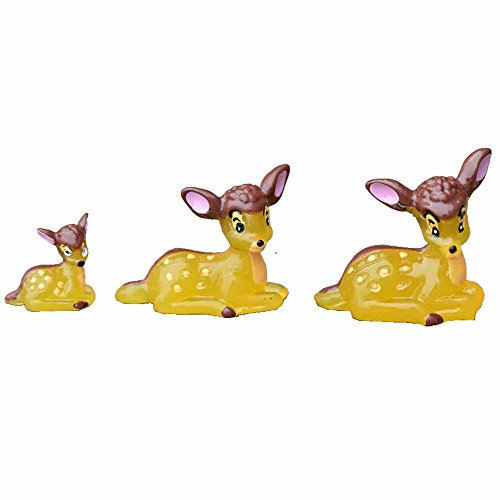 3 Pcs Deer Family Fairy Garden Kits Figurines for Miniatures Ornaments Fairies Gardens House Terrarium Kit Dollhouse Supplies DIY Outdoor Decorations Moss Micro Landscaping Decor