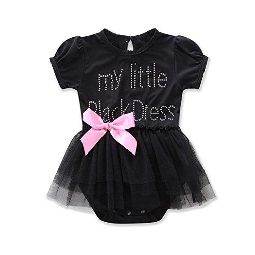 Rawdah Neonato neonato ricamato pizzo piccolo body vestito nero Nero) Rawdah-01
