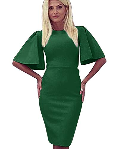 Sheath Suit - Zshujun 1950's Women's Vintage Stretchy Work Casual Bodycon Sheath Pencil Dress 1189 (Green, M)