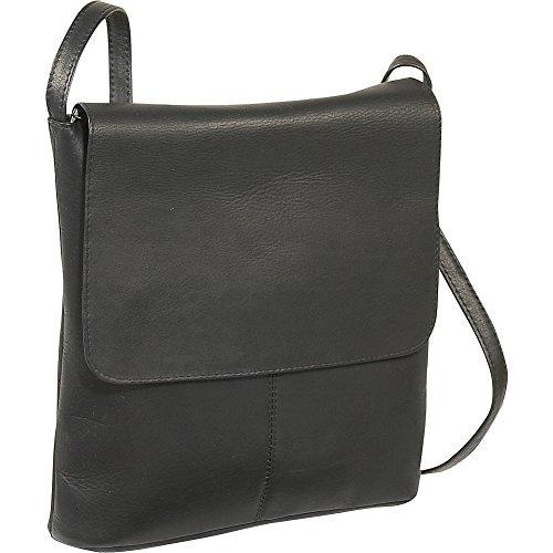 LeDonne Women's Leather Simple Flap Over Handbag, Black, Small (Leather Bag Shoulder Vacquetta)