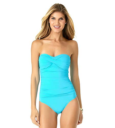 (Anne Cole Women's Twist Front Shirred One Piece Swimsuit, New Turquoise, 14)