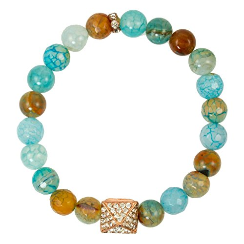 Blue Fire Agate Beads with Rose-Gold-Plated Triangle Bead with CZ Accents - Stretch Bracelet