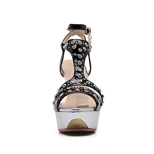 Black AllhqFashion Imitated Peep Suede Spikes Sandals Toe Buckle Stilettos Womens Solid qwvCx4qAr