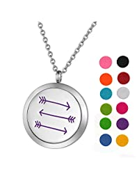 Stainless Steel Aromatherapy Essential Oil Diffuser Necklace with Arrow/Flower for Women,Silver Tone