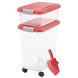 IRIS USA 3 Piece Airtight Pet Food Storage Container Combo, Red 301125