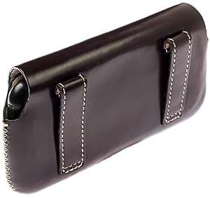 Krusell Hector Funda de cuero para Nokia C1-01 con clip para cinturón marrón