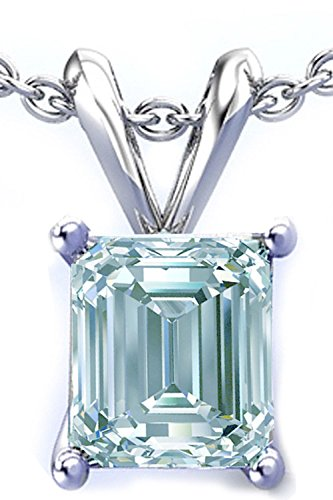 (RINGJEWEL 1.40 ct VVS1 Silver Plated Emerald Solitaire Real Moissanite Ice Blue White Pendant)