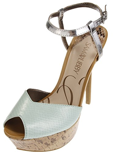 (Sam & Libby Margot Women's Open Toe Pumps (7 B(M) US Womens) Turquoise/Brown)