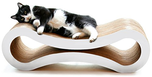 PetFusion Ultimate Cat Scratcher Lounge, Large, Cloud White ()