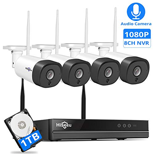 [Expandable 8CH] Wireless Security Camera System with Audio,Hiseeu 8CH 1080P NVR 4Pcs 1080P 2MP Night Vision IP Surveillance Cameras Home Outdoor Plug&Play,Easy Remote View,1TB HDD Preinstalled ()