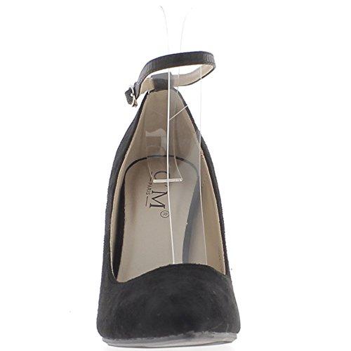 Escarpins noirs pointus à talons fins de 10cm aspect daim et fine bride