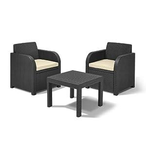 Allibert-by-Keter-Atlanta-2-Seater-Rattan-Balcony-Bistro-Set-Outdoor-Garden-Furniture-Graphite-with-Cream-Cushions