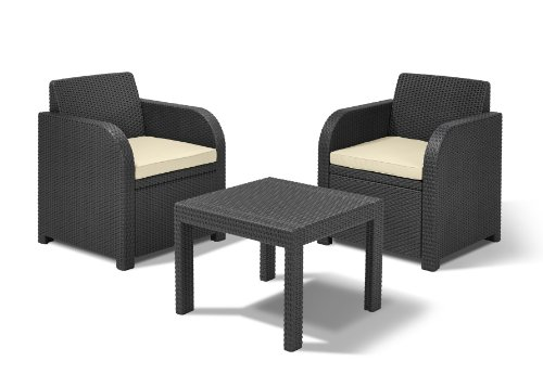 Allibert-by-Keter-Atlanta-2-Seater-Rattan-Balcony-Bistro-Set-Outdoor-Garden-Furniture-Graphite-with-Cream-Cushions