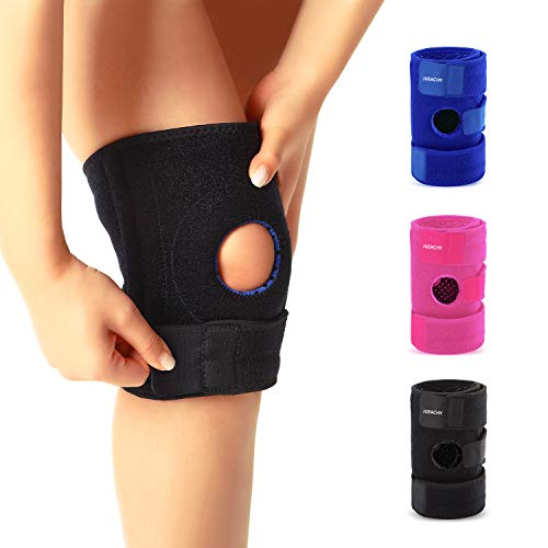 Knee Brace for Man Women, Knee Support Protector for Running, Hiking, Weightlifting, Workout, Joint Pain Relief, Meniscus Tear, Arthritis, Tendinitis with Easy Stick Strap